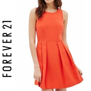 Forever 21 Contemporary Orange Pleated Dress